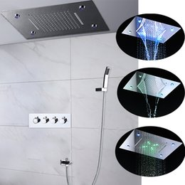 $enCountryForm.capitalKeyWord NZ - 3 functions polished square led rain shower set 360*500mm recessed ceiling waterfall shower kits + hot and cold shower valve