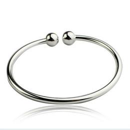 $enCountryForm.capitalKeyWord Australia - Simple Double Ball Silver Bracelet Women Open Bangle Cuff Wristband Hand Cuffs 925 Sterling Silver Open Bangle Cuff Wristband