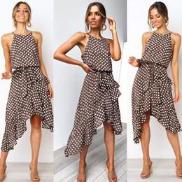 $enCountryForm.capitalKeyWord UK - Summer O-neck Spaghetti Strap Women's Dress Casual Sleeveless Dot Sprint Beach Maxi Dresses Tunic Bow Belt Irregular Party Dresses