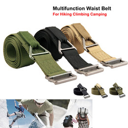 High Density Nylon Multi-function Waist Belt Emergency Bundling Strap With Full Metal Buckle For Camping Climbing Hiking Rescue. on Sale