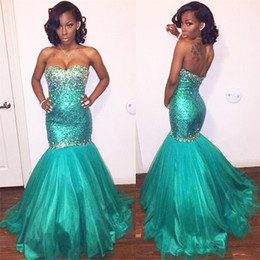 white rhinestone sleeveless shirt Australia - 2019 Turquoise Sparkly Mermaid Prom Dresses Long Beaded Rhinestones Sequin Evening Gowns Elegant Formal Dress Vestiod De Noche Gowns Party