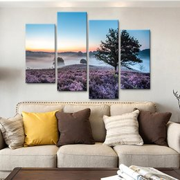 $enCountryForm.capitalKeyWord NZ - For Living Room Wall Art Modern HD Printed Pictures 4 Piece Pcs Grass Flower Tree Scenery Home Decor Frame Canvas Painting Posters