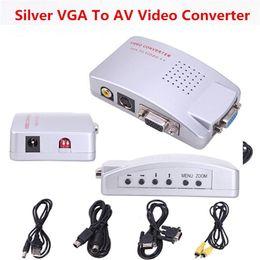 $enCountryForm.capitalKeyWord Australia - 20PCS lot* VGA to video converter New PC Laptop Computer VGA to AV RCA Signal TV S-Video Converter Box Supports NTSC PAL system