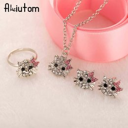 b62b095f4 ALIUTOM New Crystal Cat Stud Earrings Rhinestone Hello Kitty Earrings  Bowknot Jewelry For Girls Ring,Earring and Necklace Set