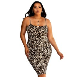 plus size mini maxi dresses Canada - Plus Size XL-4XL 2020 Summer Long Maxi Dress Women Strap Leopard Print Night Club Party Bandage Street Dresses Vestidos
