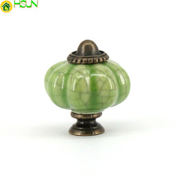 $enCountryForm.capitalKeyWord NZ - 10pcs Crackle Ceramic Cabinet Knobs and Handles for Wardrobe Door Pulls Dresser Kitchen Cupboard Handle Furniture Hardware Green