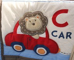 $enCountryForm.capitalKeyWord NZ - Boy Pilot Baby Crib Bedding Sets Four Piece Suit Blue Color Cute Animal Monkeys Printing Child Bed Skirt Cover Kit