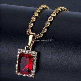 red rectangle pendant Australia - Luxury Rectangle Gem Pendant Silver Gold Chain Hip Hop Jewelry Designer Jewelry Rope Chain Iced Out Chains Mens Necklace