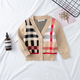 Hand knitted clotHing online shopping - Retail Boys girls knitted sweater Korean stripe plaid matching knitted cardigan children clothing kids jackets coat outwear boutique clothes