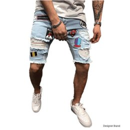 $enCountryForm.capitalKeyWord Australia - Mens Designer Denim Shorts Fashion Summer Zipper Hole Short Mens Slim Pants Hip Hop Mens Short Jeans Blue