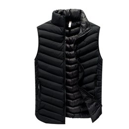 Drop Shipping Quality Jackets UK - High Quality Black Men Vest 2018 Winter Male Waistcoat Slim Fit Sleeveless Jacket Casual Vest Man Plus Size L-4XL Drop Shipping
