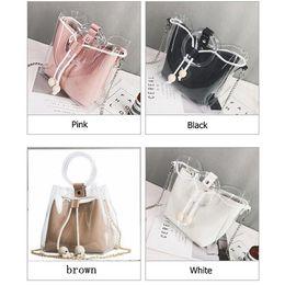 $enCountryForm.capitalKeyWord Australia - Women Transparent Bag Tote For Teenage Girls Drawstring Jelly Bag Circle Handle PVC Bucket Shoulder Bag Handbag Chain MMA1225