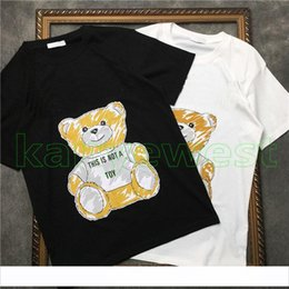 Wholesale 2019 new Luxury cloth T shirt mens Cartoon Bear Print t shirt Summer Men Skateboard Street toys t shirts Designer Casual tops Tee