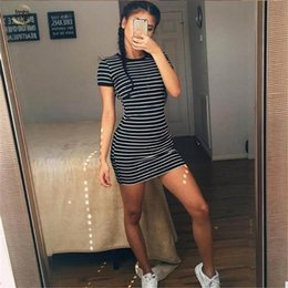 plus size spandex shirt Australia - Womens Short Sleeve Striped Party Crew Neck Bodycon Summer Beach T-shirt Dress Sexy Beach Holiday Plus Size Party Dresses