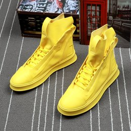 $enCountryForm.capitalKeyWord Australia - Men Fashion Casual Shoes Spring Summer Men Shoes High Top Botas Hombre Men Leisure Yellow Hip-hop Boots 6#22D50