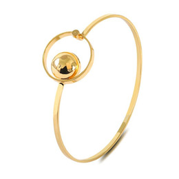 Stainless Steel Jewelry Brands UK - Jewelry Circle Bracelets & Bangles Gold Color Charm Bracelets For Women Simpler Silver Gold Plated Brand Jewelry