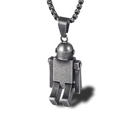 $enCountryForm.capitalKeyWord UK - New Fashion Men's Personalized Robots Stainless Steel 18K Gold Plated Pendant Necklace Designer Charm Pendants Jewelry