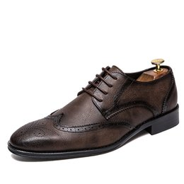 Big Dress Up NZ - Big Size 38-47 Men Wedding Dress Shoes Black Brown Oxford Shoes Formal Office Business British Lace-up Men's Footwear