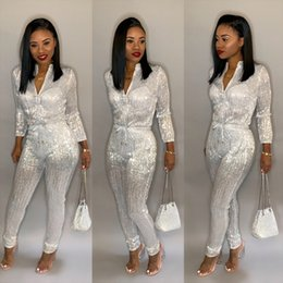 9d0e61cbe4 Top fashion women sequin jumpsuit front zipper long sleeve bodysuit sexy  night club bodycon jumpsuit romper DB9140