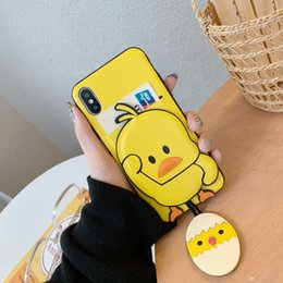 $enCountryForm.capitalKeyWord Australia - Happy High Quality Shell Cute yellow duck Back Case For iPhone XS Max XS XR X 8 7 6 6S Plus PU leather Soft Cover Case with Card Pocket