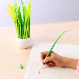 Grass pens online shopping - Creative Tiny Green Grass Gel Pen Blade Grass Potting Decoration Zakka Stationery Caneta Office Supplies Material School