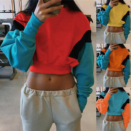 $enCountryForm.capitalKeyWord Australia - Women harajuku Crop Top Sweatshirt 2019 Spring Autumn O-Neck Long Sleeve Patchwork Hoodie Casual Drop Shoulder Shirt streetwear