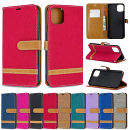 $enCountryForm.capitalKeyWord Australia - Leather Wallet Case For Iphone 6.1 6.5 inch 2019 New Samsung Galaxy A10e Jean Canvas Hybrid Cloth Bicolor Hit Flip Cover Phone Purse Strap