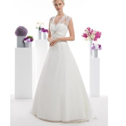 $enCountryForm.capitalKeyWord NZ - Plus Size White Chiffon Wedding Dresses 2019 Simple V Neck Bridal Dresses Country Bridal Gown Custom Lace Appliques Wedding Gowns