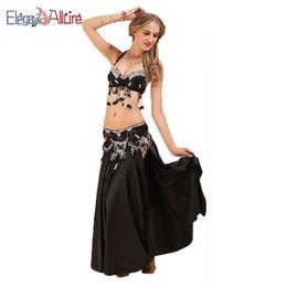 Discount women belly dance belt - E&A 3pcs Women Beblly Dance Bra Belt Set Bellydance Skirt Fashion Top Waist Chain Female Long Dress Indian Dancewear Per