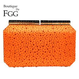 Handbag Boutiques NZ - Boutique De FGG Orange Crystal Women Evening Clutch Bag Metal Frame Acrylic Clasp Wedding Party Banquet Chain Shoulder Handbag