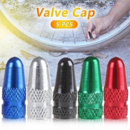 valve caps wholesale Canada - 5pcs Tire Valve Caps Wheel Valve Cap Bicycle Aluminum Alloy French For MTB Road Bike Mountain Bike Tyre Air Dust Covers Cap