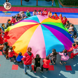 parachute cloth Australia - Happymaty 2M 3M 3.6M 4M Diameter Outdoor Rainbow Umbrella Parachute Toy Kindergarten Teamwork Game Toy For Children