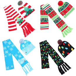 $enCountryForm.capitalKeyWord UK - kids adult LED Christmas knitted Hat Scarf set Santa Claus Snowman Reindeer Elk snowflake Festivals Scarves Hats Xmas Party Supplies CapC784