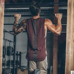 جديد رجل القطن تانك القمم الجمنازيوم لياقة كمال الاجسام أكمام قميص تجريب خياطة اللون الصيف عارضة أزياء فضفاضة سترة الملابس