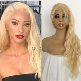 bleach blonde lace wigs NZ - 613 Blonde Full Lace Wigs With Baby Hair Virgin Hair Body Wave 150% Density Bleached Knots Natural Hairline Lace Front Human Hair Wigs