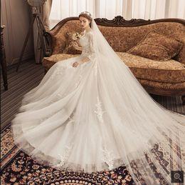 $enCountryForm.capitalKeyWord Australia - 2019 Robe de soiree White lace appliques ball gown wedding dress 3 4 sleeve modest princess puffy corset plus size wedding gowns hot sale