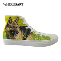 canvas dog shoes UK - WHEREISART Hot Female Canvas Shoes Women 3D Wolf Dog Design Vulcanized Shoes Girls Flat Fashion Leisure For Girls