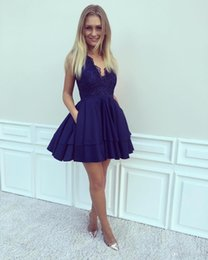 girls wearing backless dress 2019 - 2019 Royal Blue Sexy V Neck Mini Homecoming Dresses With Pockets Sleeveless Lace Short Cocktail Dresses Girls Party Gown