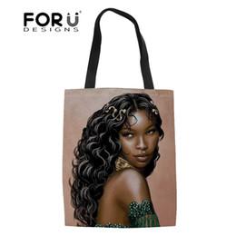 $enCountryForm.capitalKeyWord Australia - FORUDESIGNS Top-Handle Bags Black Women Art African Girls Shoulder Bag Ladies Shopping Bags for Females Reusable Shopper Bag