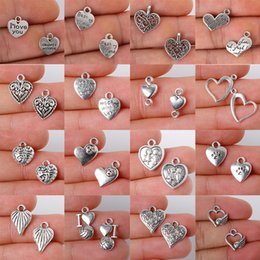 Classic Charm Fashion Australia - 10-55Pcs Alloy Silver Heart Shape Jewelry Findings Charms Pendant Classic DIY Fashion Jewelry Necklace
