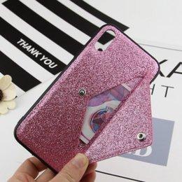 Slot para cartão de moda caso de telefone rosa Design Glitter 3D Embroidery Love Pink Phone Case Para iPhone X venda por atacado