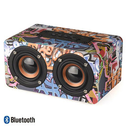 Portable 3d Player online shopping - Multicolor Wooden Bluetooth Speaker Wireless Graffiti D Stereo Music Soundbox Surround Portable speakers PC support TF AUX FM