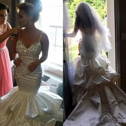 Wedding Dress Crystals Spaghetti Straps Australia - 2019 Ivory Spaghetti Straps Satin Beads Sequins Crystal Mermaid Wedding Dresses Sexy Sleeveless Court Train Spring Fall Bridal Gowns Custom