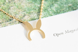 $enCountryForm.capitalKeyWord Australia - Fashion Gold-color silver plated Bunny Ears charm necklace Pendant Necklace for women gift Free Shipping Wholesale