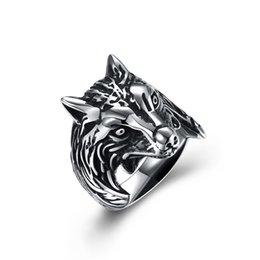 StainleSS Steel wolfS head ring online shopping - Punk Vintage Stainless Steel Wolf head Ring D Game Of Throne House Stark of Winterfell Wolf Man Ring Vintage Biker Men s Rings