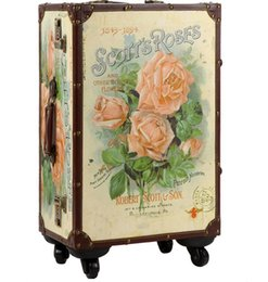 "suitcase 24 Australia - Designer-20 24""inch lovely Rose about trolley suitcase luggage durable traveller case PU Vintage Pull Rod trunk boarding bag Women Girl"