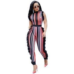 Blue Plus Size Jumpsuit Australia - Plus Size Jumpsuits for Women Sexy 2018 Summer Elegant Sleeveless Ruffled Rompers Colorful Striped Club Party Casual Body Suits