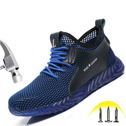 $enCountryForm.capitalKeyWord Australia - Soft Comfortable Safety Shoes Mens Summer Breathable Steel Toe Caps Anti-smashing Puncture Proof Light Construction Work Shoes