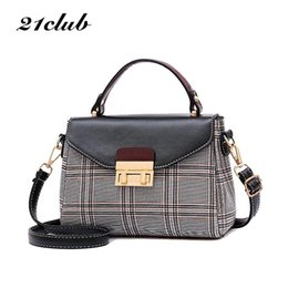 ladies working handbags NZ - 21club Brand 2018 Plaid Casual Ladies Totes Hotsale Party Shopping Work Purse Coin Women Messenger Crossbody Shoulder Handbags