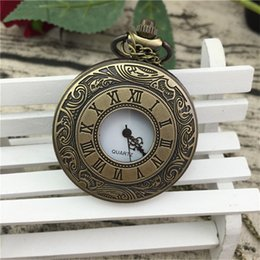 dresses big pockets UK - retro vintage big dial roma unisex women mens students nacklace chains pocket watches wholesale fashion leisure dress gift watch
